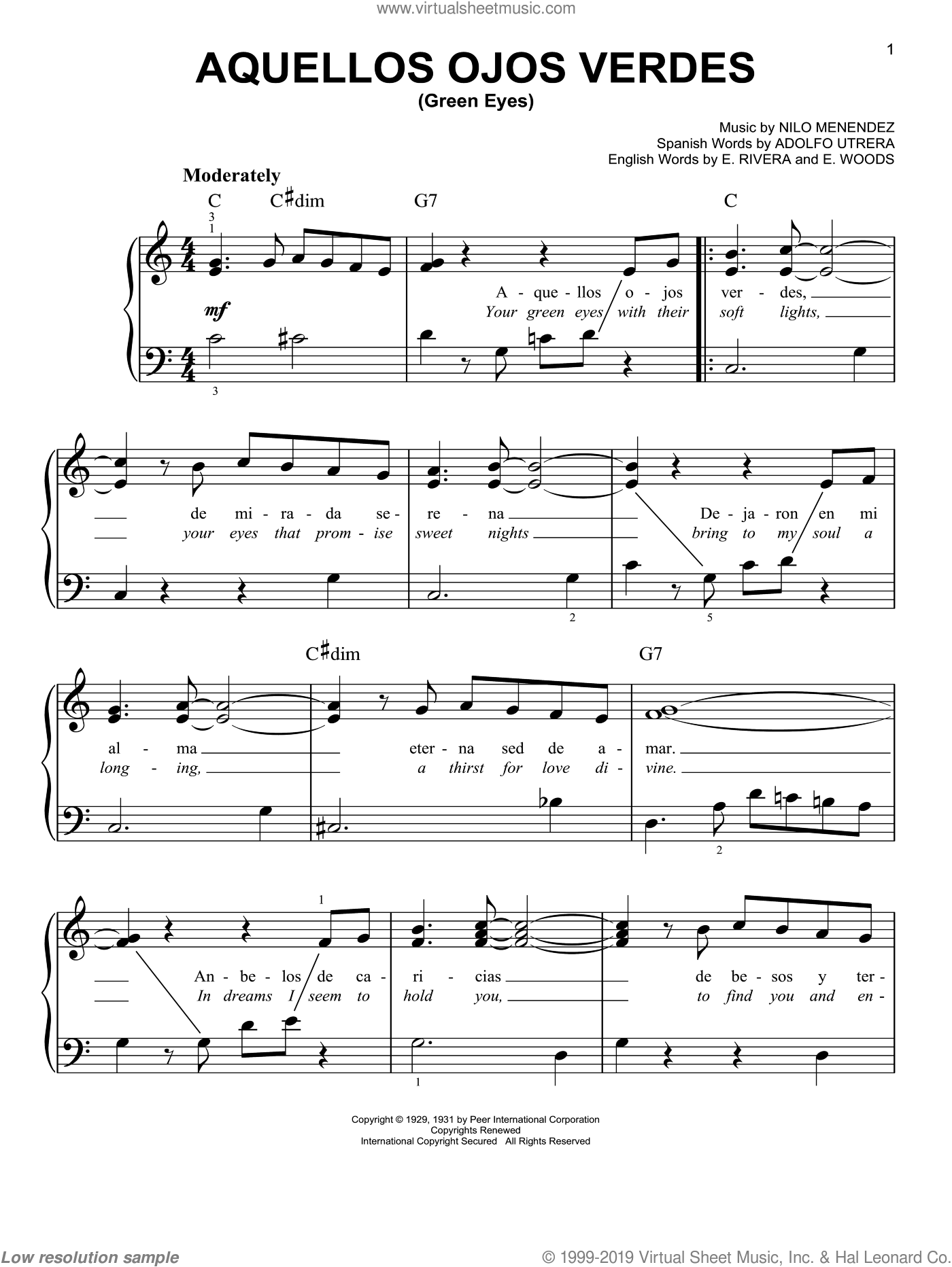 Aquellos Ojos Verdes (Green Eyes) sheet music for piano solo by E. Woods and Nilo Menendez