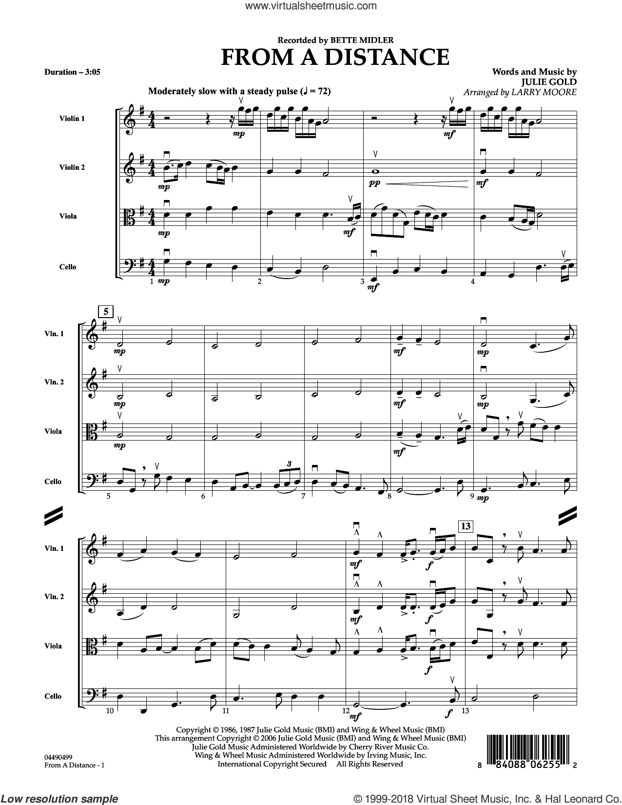 From a Distance (arr. Larry Moore) (COMPLETE) sheet music for string quartet (Strings) by Bette Midler, Julie Gold and Larry Moore, intermediate orchestra