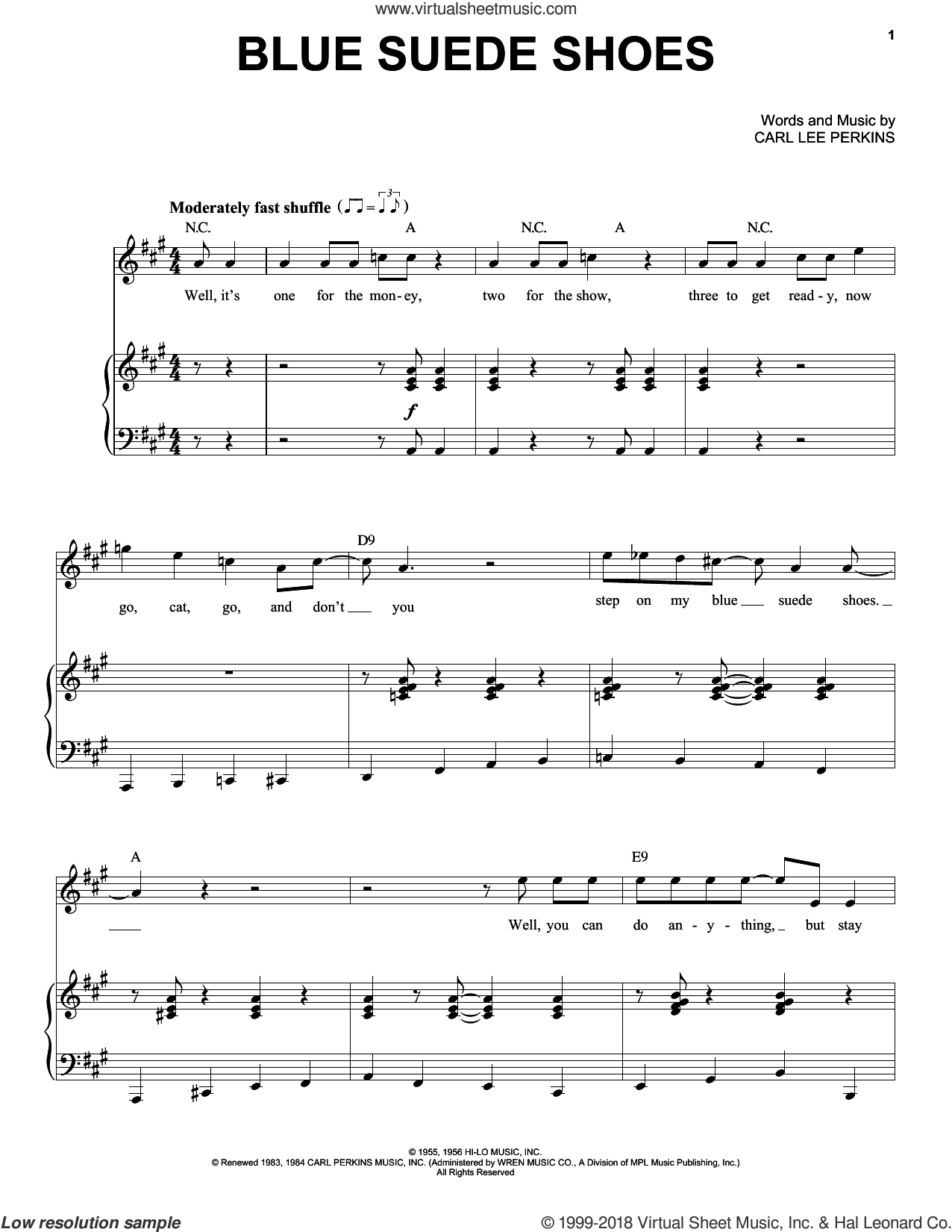 Blue Suede Shoes sheet music for voice and piano by Elvis Presley, intermediate skill level