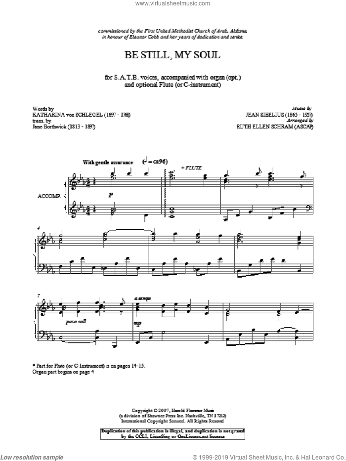 Be Still My Soul sheet music for choir (SATB: soprano, alto, tenor, bass) by Jean Sibelius and Katharina von Schlegel, classical score, intermediate skill level