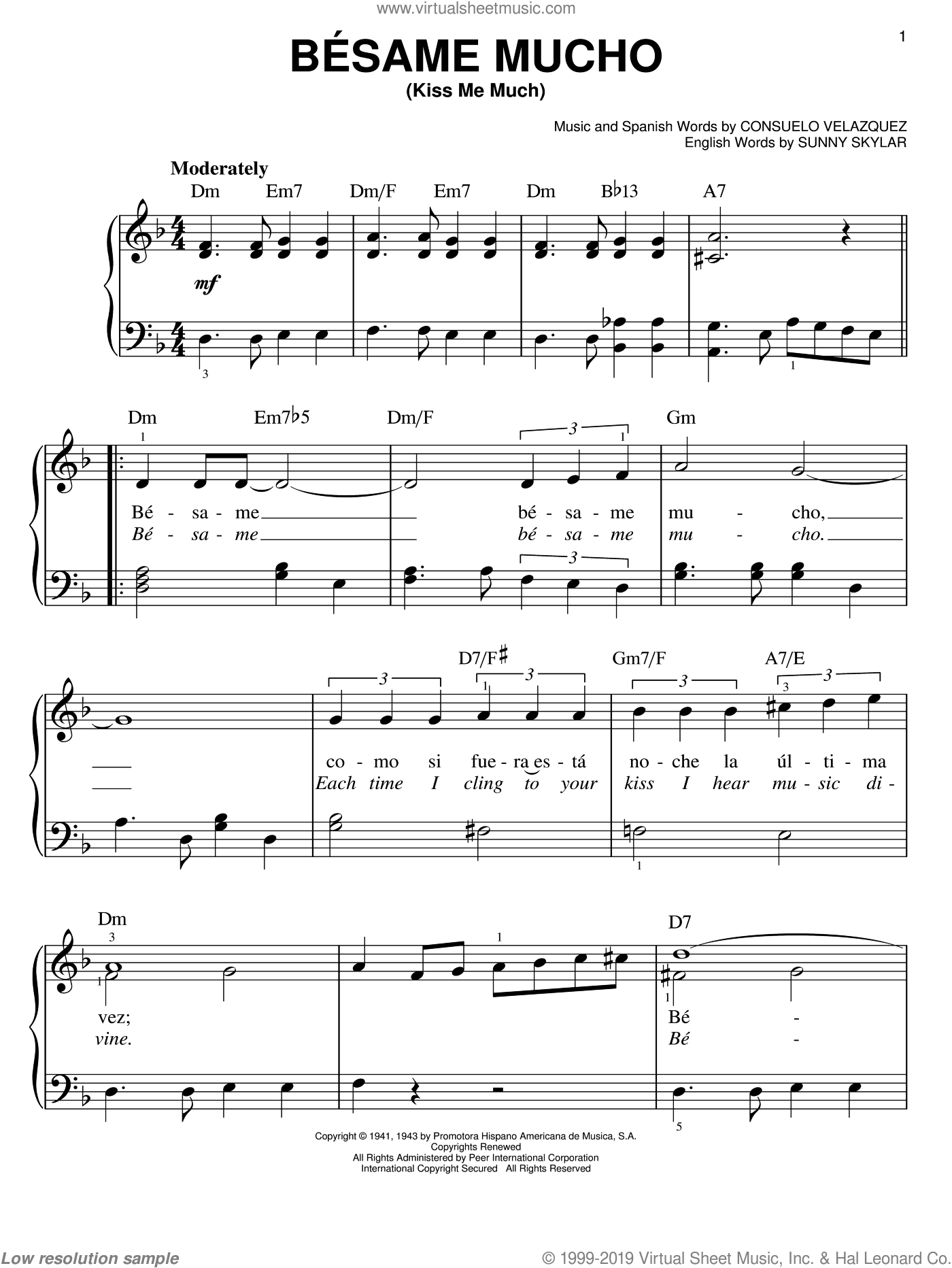 Besame Mucho (Kiss Me Much) sheet music for piano solo (chords) by Sunny Skylar