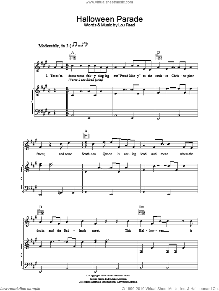 Halloween Parade sheet music for voice, piano or guitar by Lou Reed, intermediate. Score Image Preview.