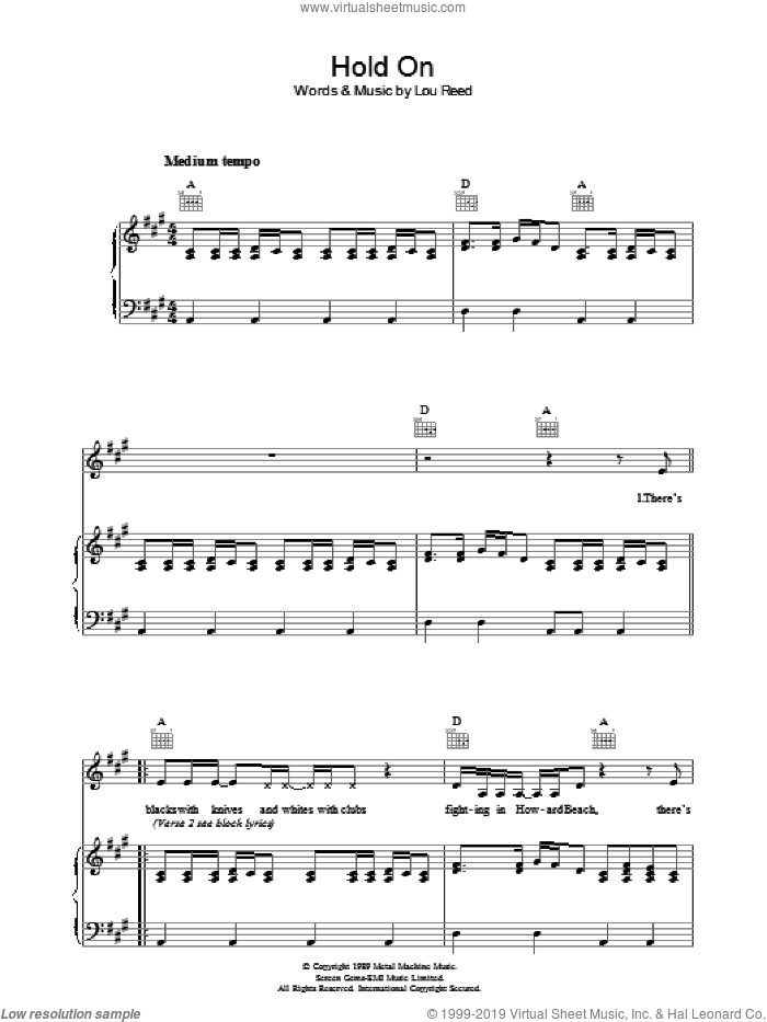Hold On sheet music for voice, piano or guitar by Lou Reed, intermediate. Score Image Preview.