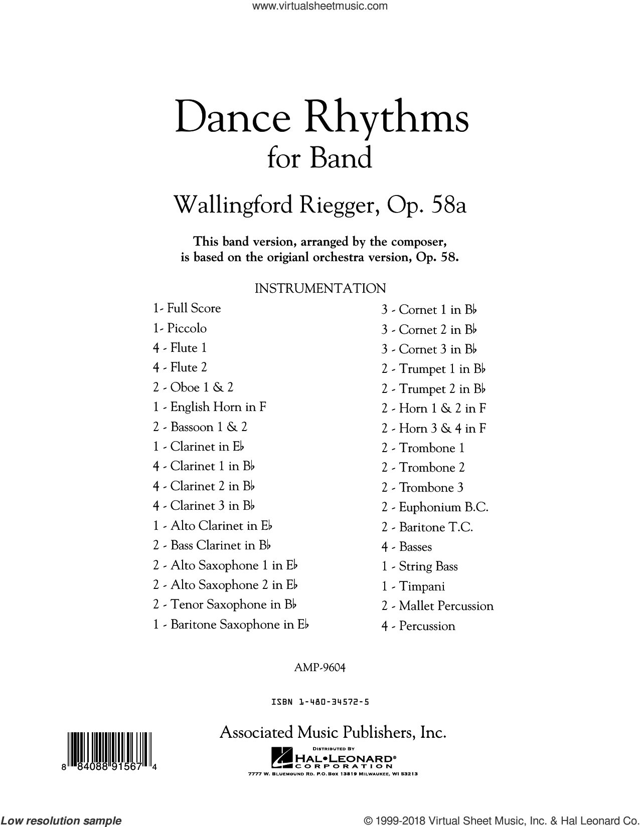 Dance Rhythms for Band, Op. 58 (COMPLETE) sheet music for concert band by Wallingford Riegger, classical score, intermediate skill level