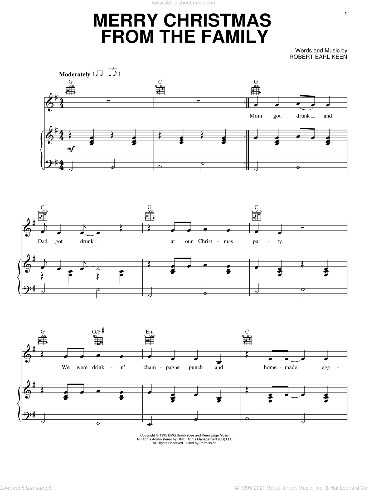 Merry Christmas From The Family sheet music for voice, piano or guitar by Robert Earl Keen, intermediate skill level