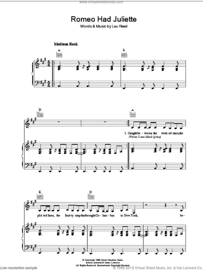 Romeo Had Juliette sheet music for voice, piano or guitar by Lou Reed, intermediate skill level