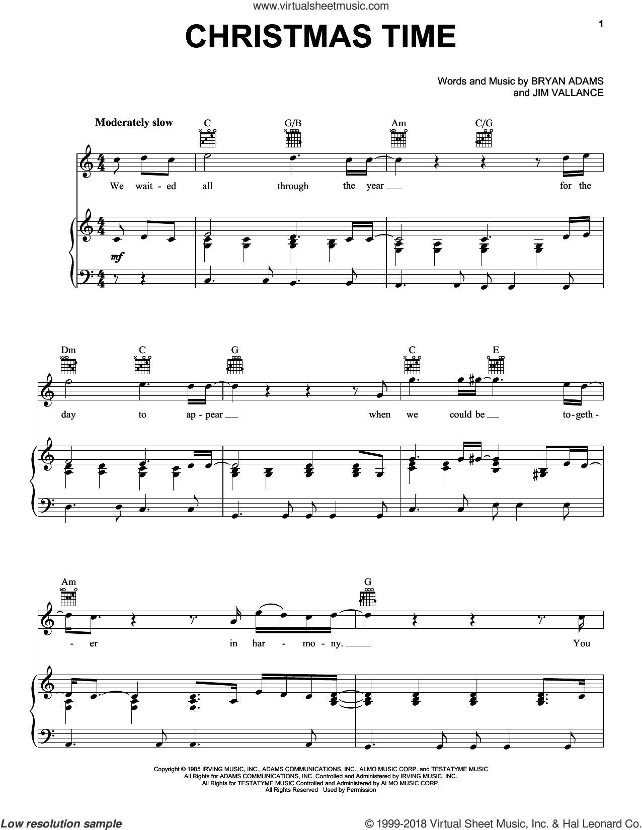 Christmas Time sheet music for voice, piano or guitar by Bryan Adams and Jim Vallance, intermediate skill level