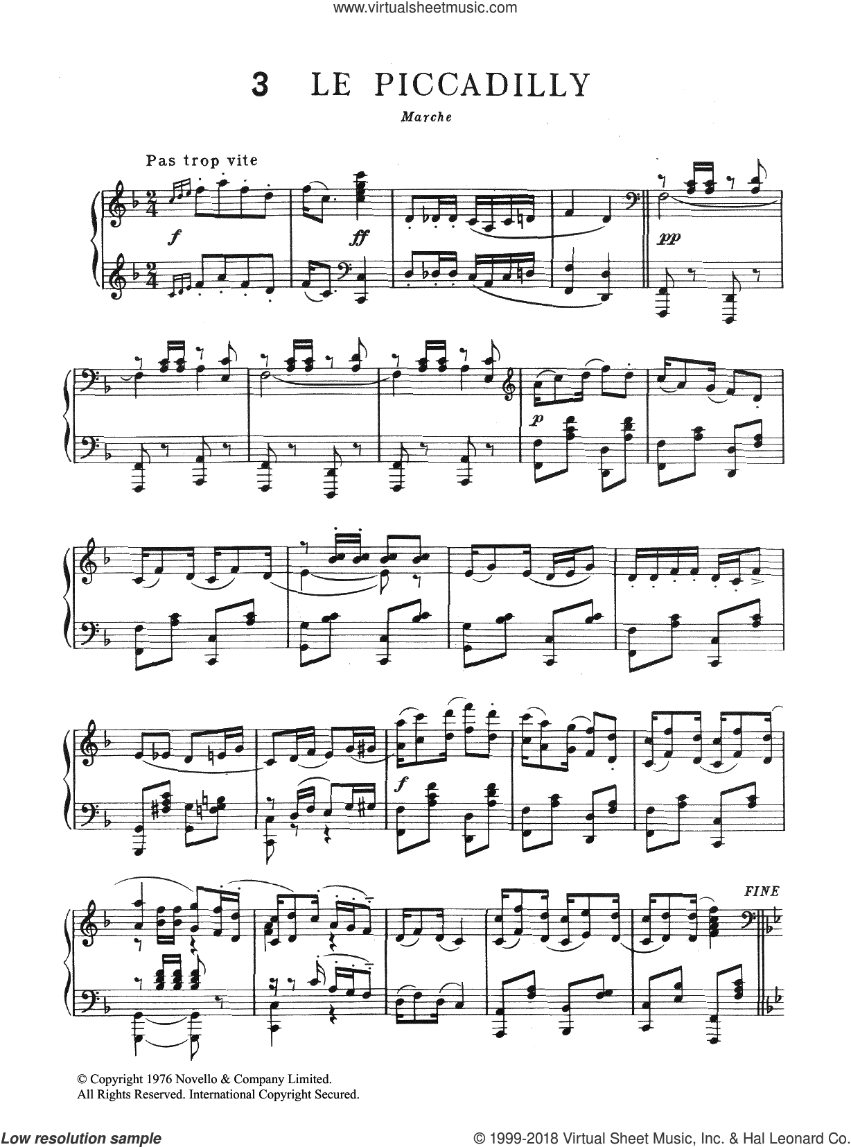 Le Piccadilly sheet music for piano solo by Erik Satie, classical score, intermediate skill level