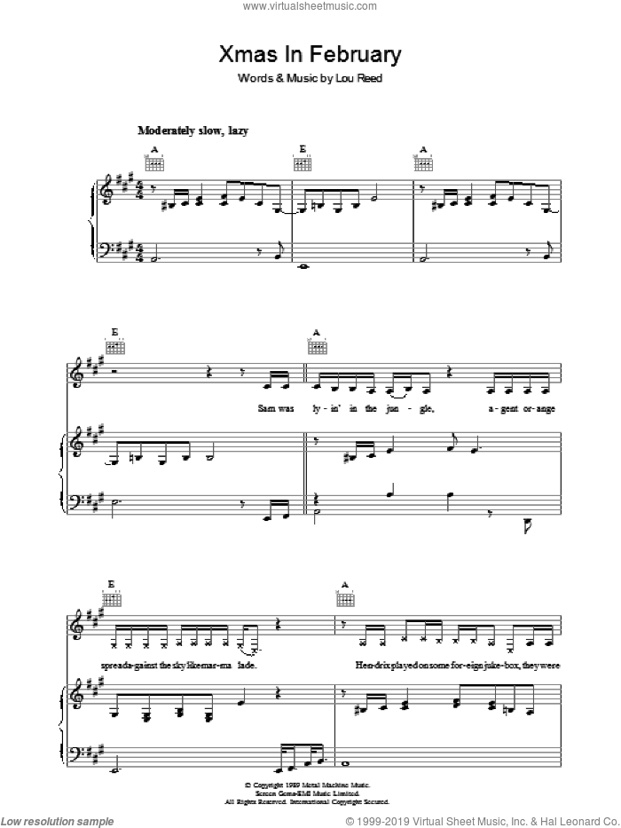 Xmas In February sheet music for voice, piano or guitar by Lou Reed, intermediate skill level