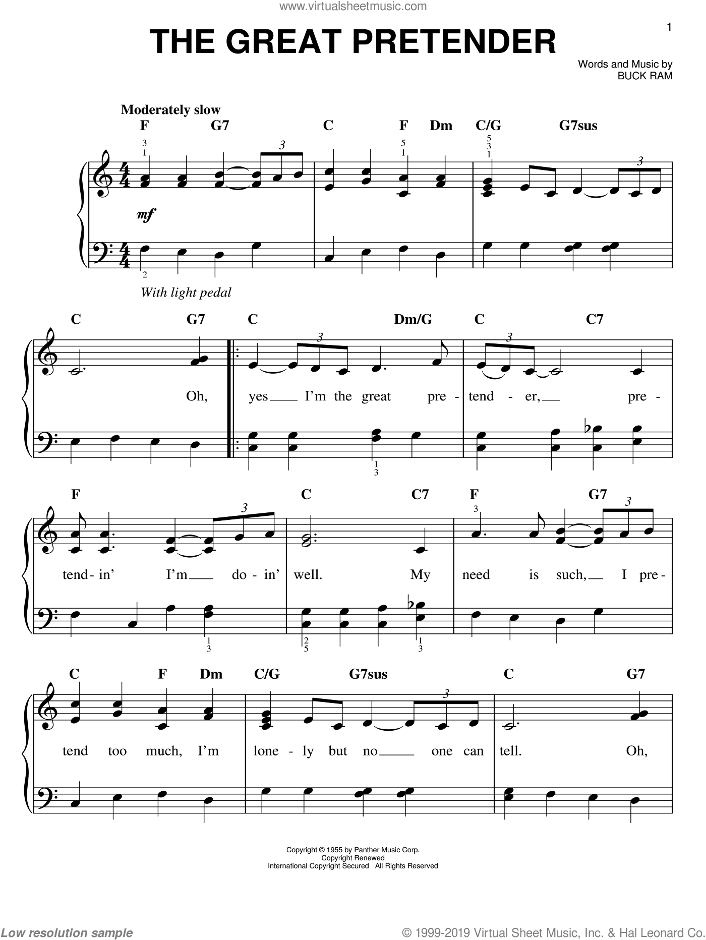 The Great Pretender sheet music for piano solo by The Platters and Buck Ram, easy skill level