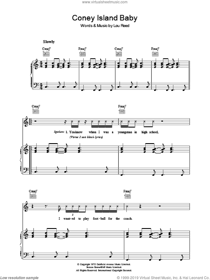 Coney Island Baby sheet music for voice, piano or guitar by Lou Reed. Score Image Preview.