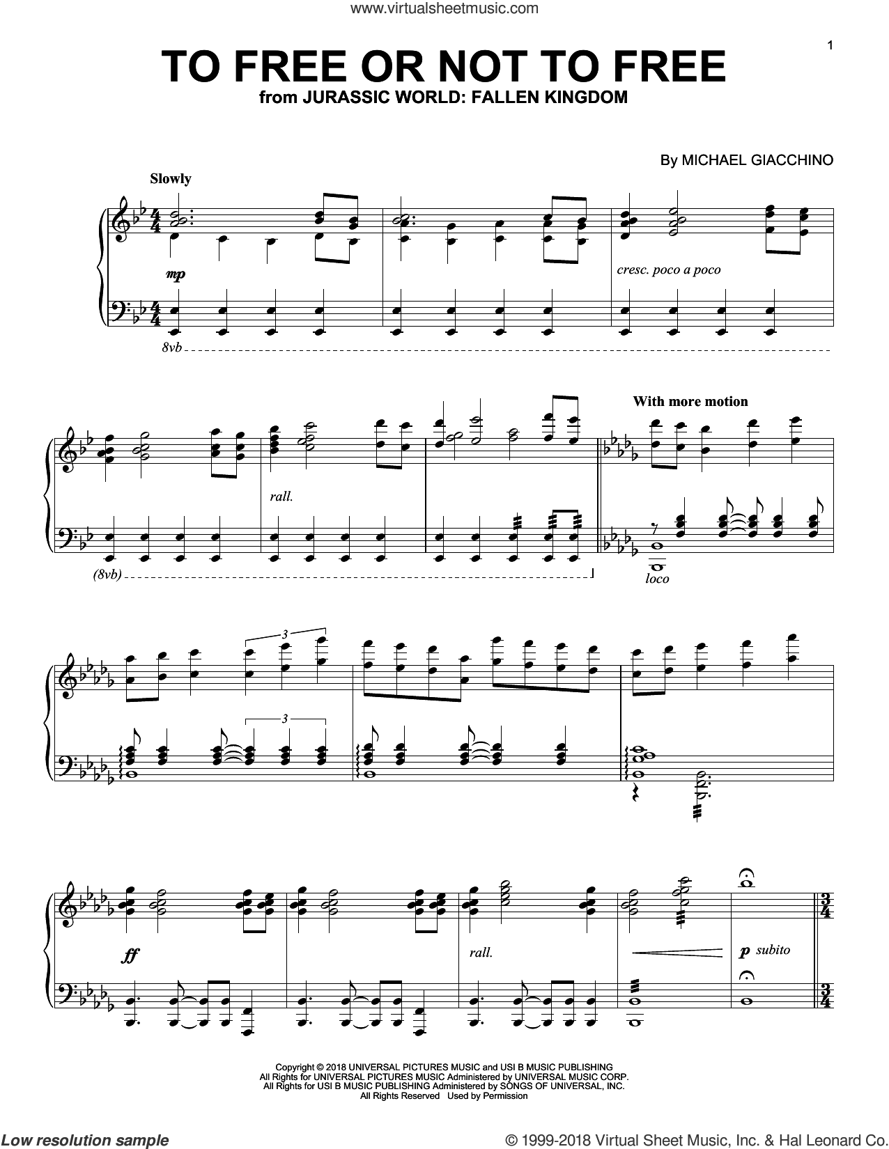 To Free Or Not To Free (from Jurassic World: Fallen Kingdom) sheet music for piano solo by John Williams and Michael Giacchino, classical score, intermediate skill level