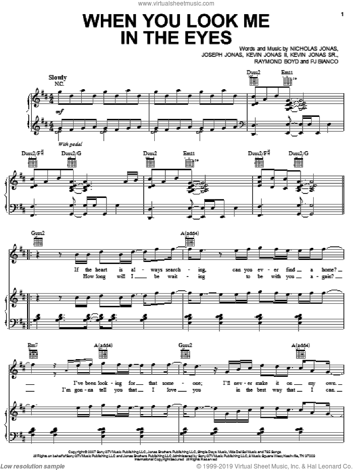 When You Look Me In The Eyes sheet music for voice, piano or guitar by Jonas Brothers, Joseph Jonas, Kevin Jonas II, Kevin Jonas Sr., Nicholas Jonas, PJ Bianco and Raymond Boyd, intermediate skill level