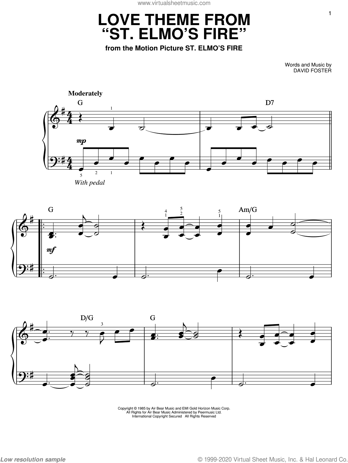 Love Theme From St. Elmo's Fire sheet music for piano solo by David Foster. Score Image Preview.