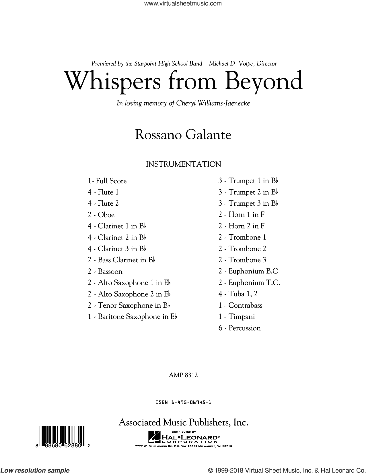 Whispers from Beyond (COMPLETE) sheet music for concert band by Rossano Galante, classical score, intermediate skill level