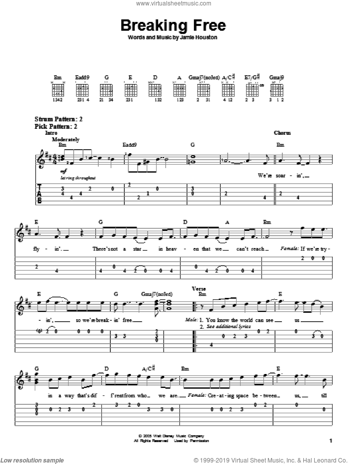 Breaking Free sheet music for guitar solo (easy tablature) by Jamie Houston and High School Musical. Score Image Preview.