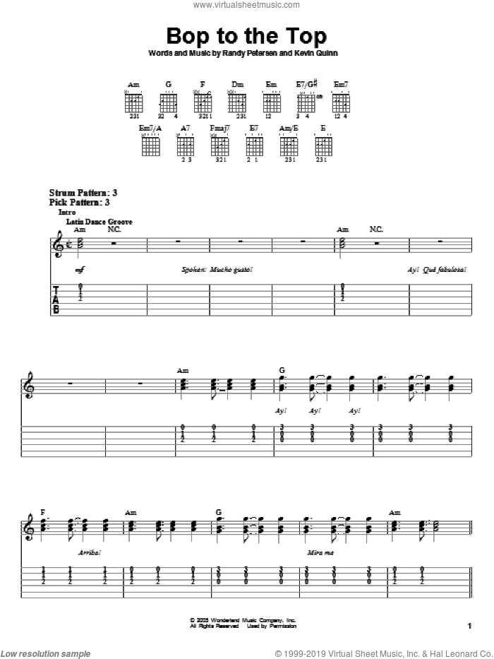 Bop To The Top (from High School Musical) sheet music for guitar solo (easy tablature) by Randy Petersen, Ashley Tisdale and Lucas Grabeel, High School Musical and Kevin Quinn, easy guitar (easy tablature)