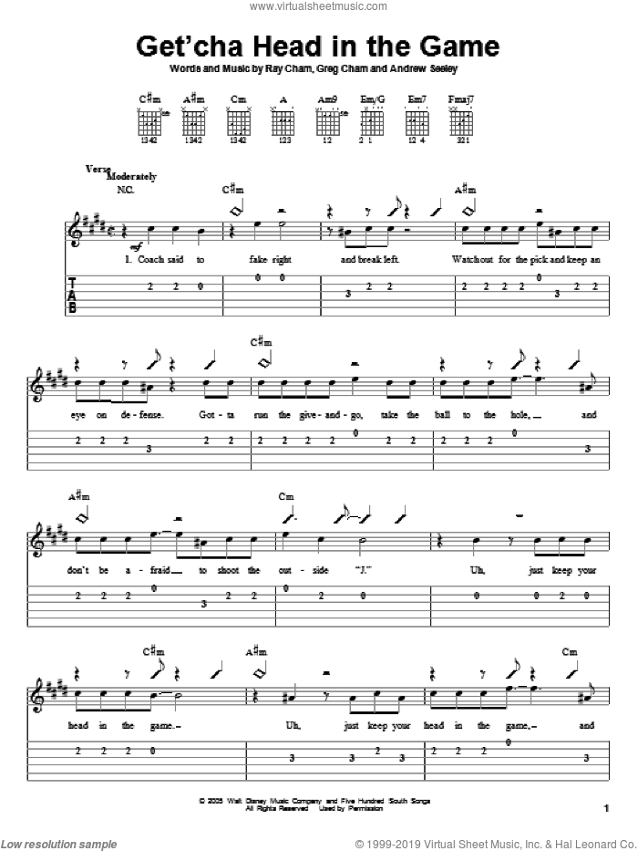 Get'cha Head In The Game sheet music for guitar solo (easy tablature) by High School Musical, Andrew Seeley, Greg Cham and Ray Cham, easy guitar (easy tablature)