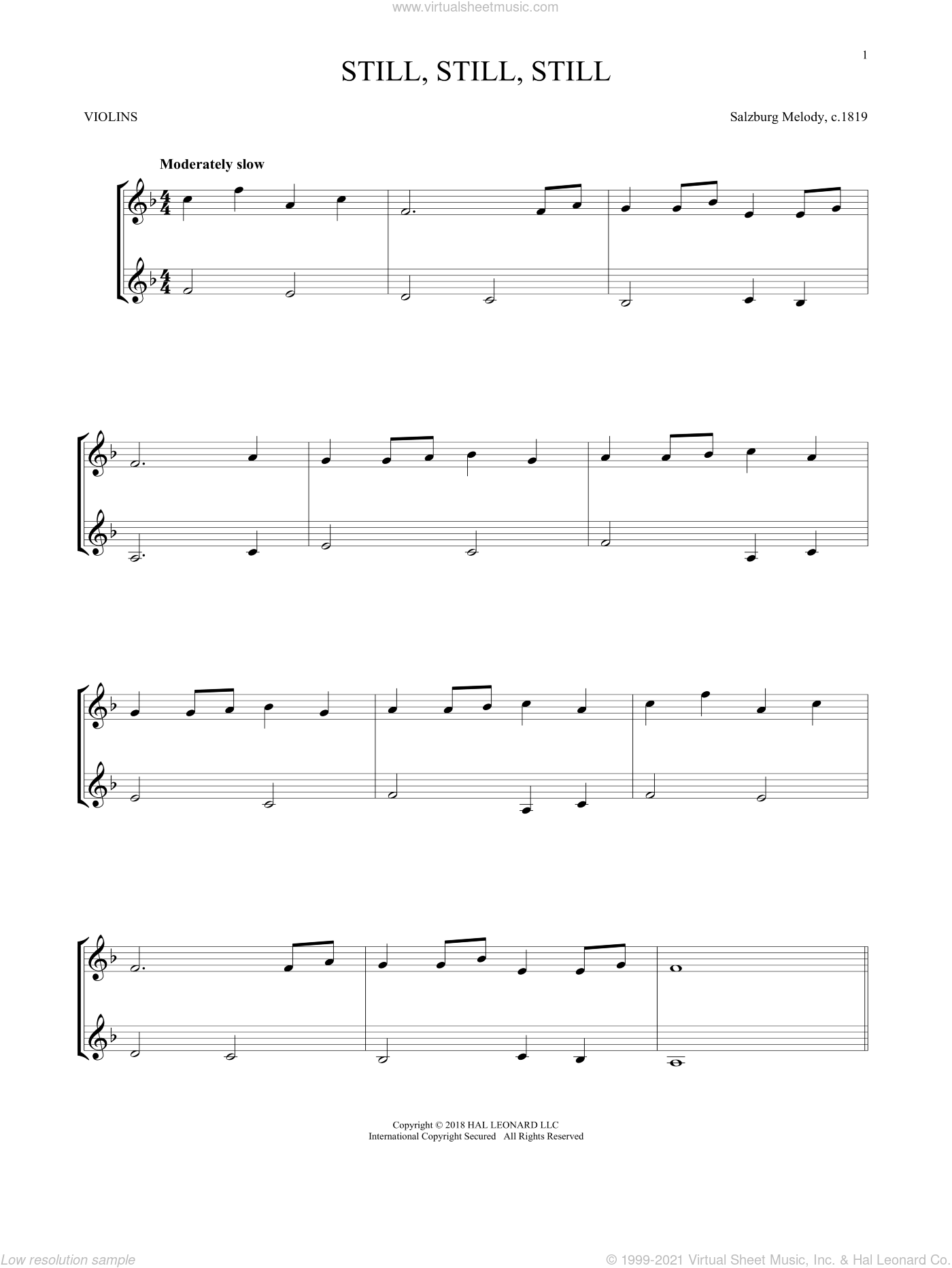 Still, Still, Still sheet music for two violins (duets, violin duets) by Salzburg Melody c.1819, Mark Phillips and Miscellaneous, intermediate skill level