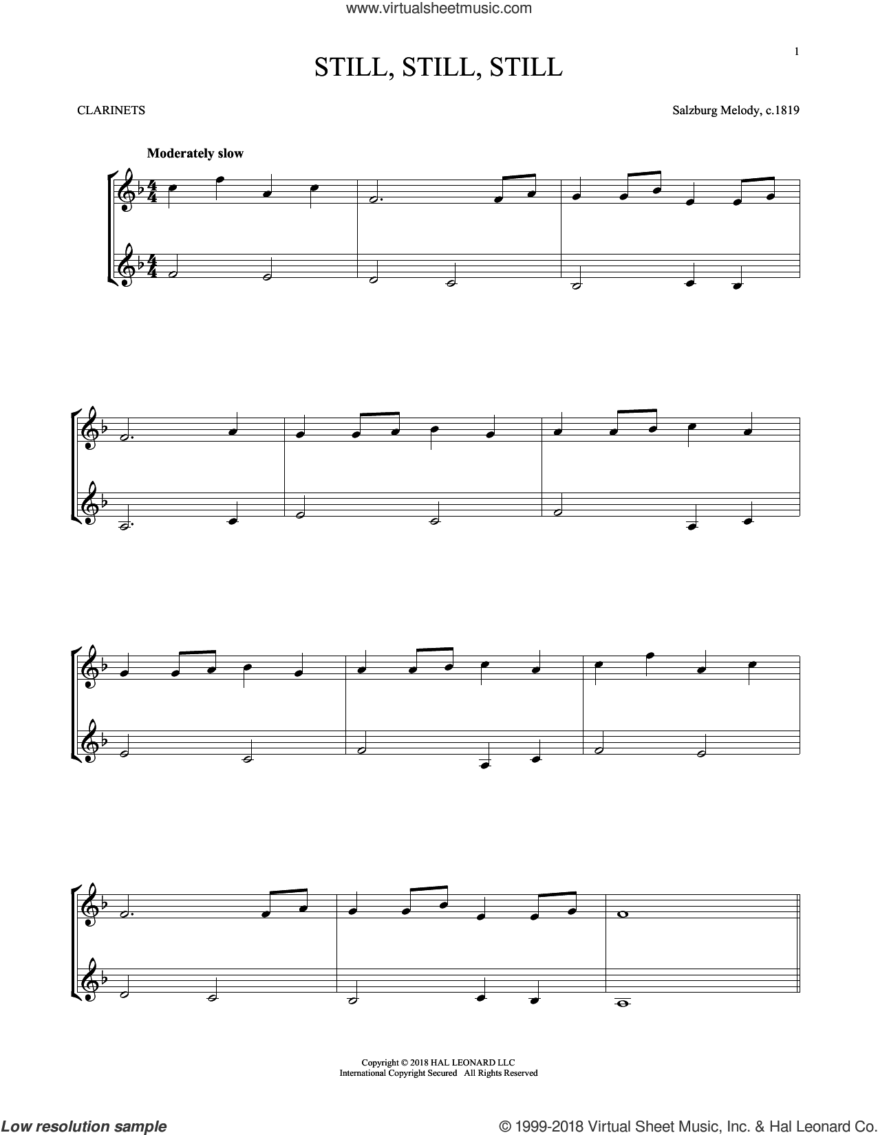 Still, Still, Still sheet music for two clarinets (duets) by Salzburg Melody c.1819, Mark Phillips and Miscellaneous, intermediate skill level