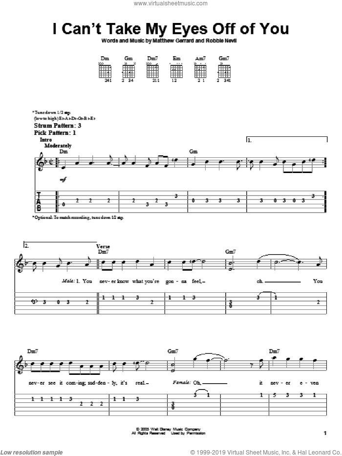 I Can't Take My Eyes Off Of You sheet music for guitar solo (easy tablature) by High School Musical, Matthew Gerrard and Robbie Nevil, easy guitar (easy tablature). Score Image Preview.
