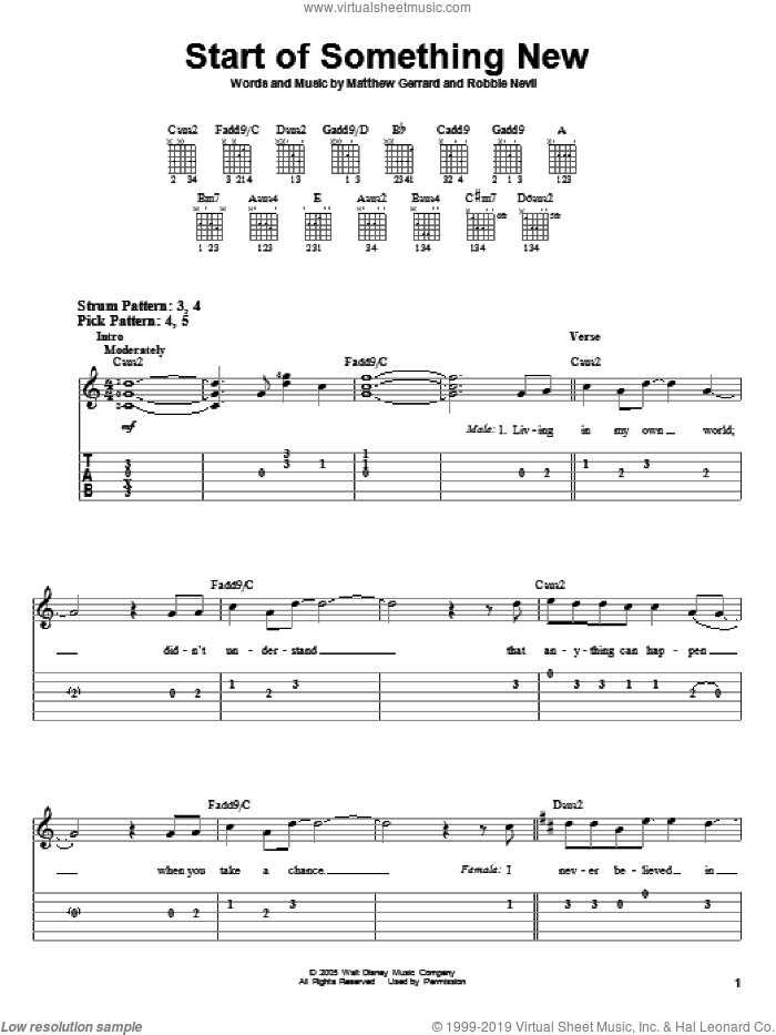 Start Of Something New sheet music for guitar solo (easy tablature) by High School Musical, Matthew Gerrard and Robbie Nevil, easy guitar (easy tablature)