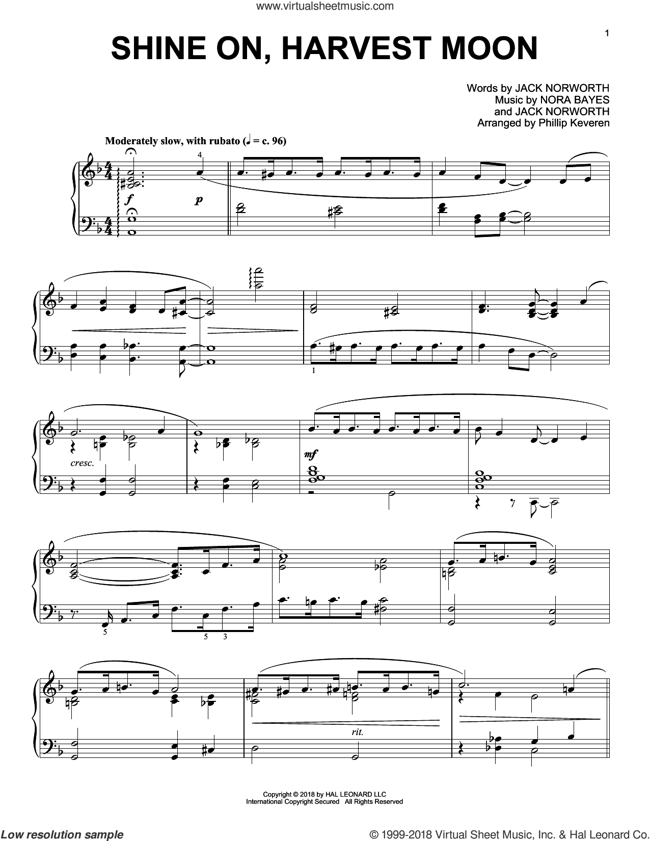 Shine On, Harvest Moon [Jazz version] (arr. Phillip Keveren) sheet music for piano solo by Jack Norworth, Phillip Keveren and Nora Bayes, intermediate skill level