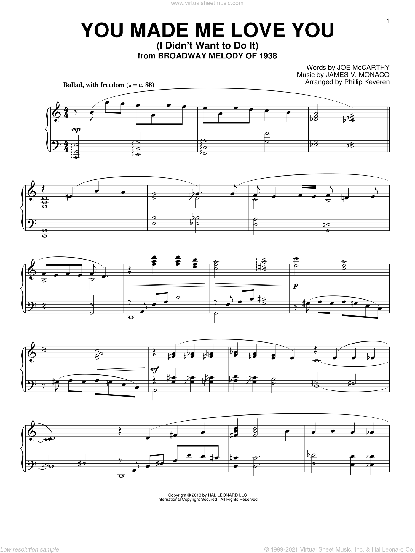You Made Me Love You (I Didn't Want To Do It) [Jazz version] (arr. Phillip Keveren) sheet music for piano solo by James Monaco, Phillip Keveren and Joe McCarthy, intermediate skill level