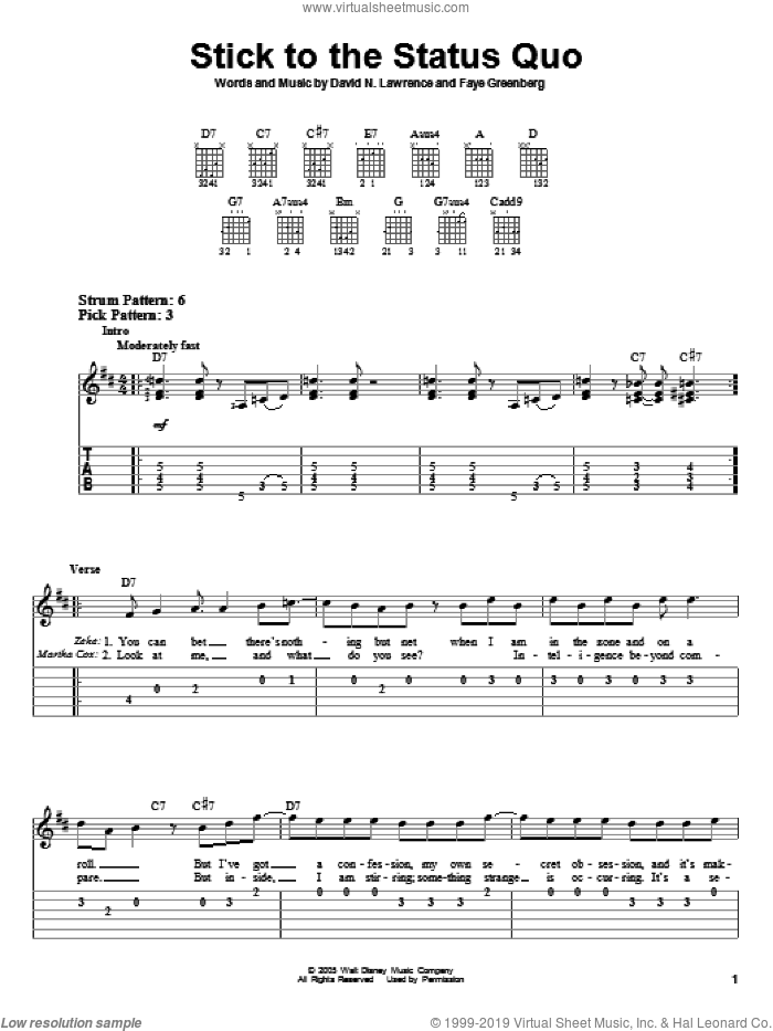 Stick To The Status Quo sheet music for guitar solo (easy tablature) by High School Musical, David N. Lawrence and Faye Greenberg, easy guitar (easy tablature)