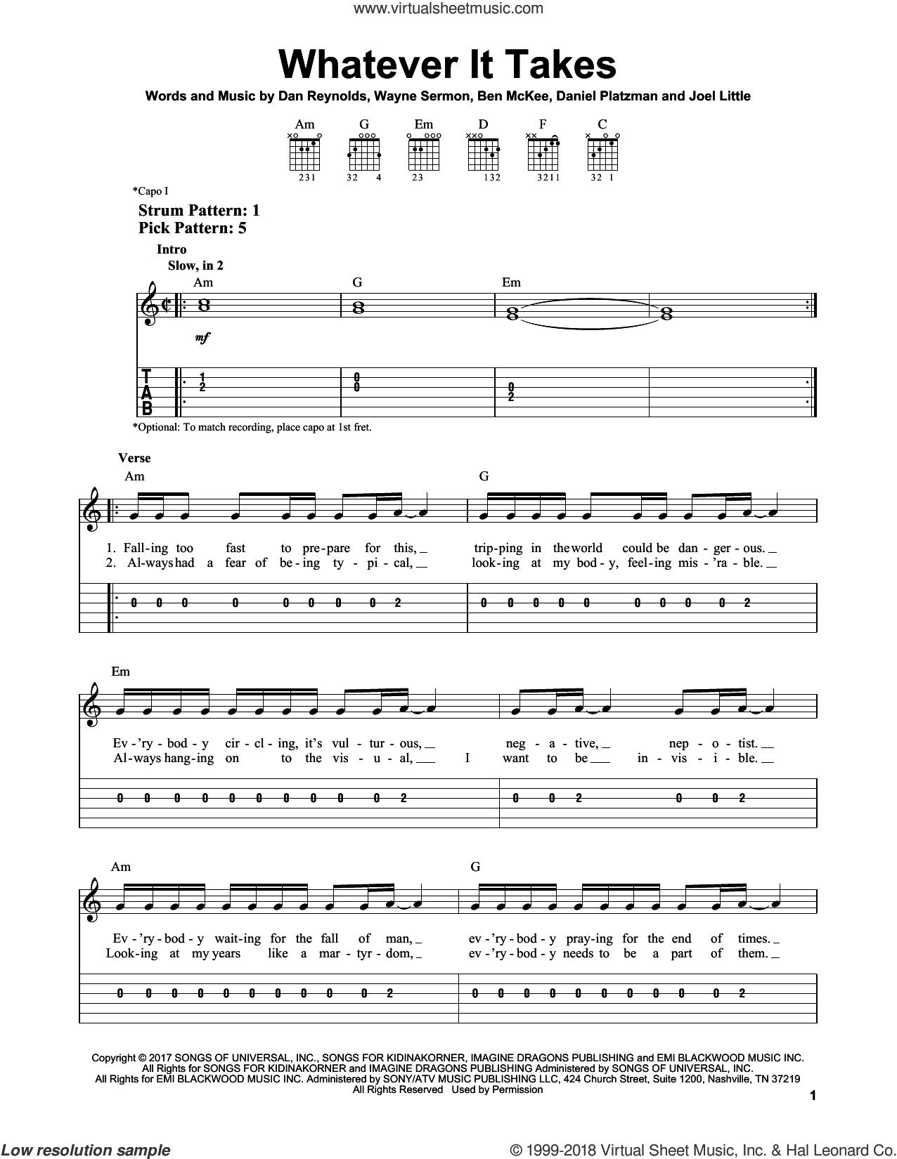 Whatever It Takes sheet music for guitar solo (easy tablature) by Imagine Dragons, Ben McKee, Dan Reynolds, Daniel Platzman, Joel Little and Wayne Sermon, easy guitar (easy tablature)