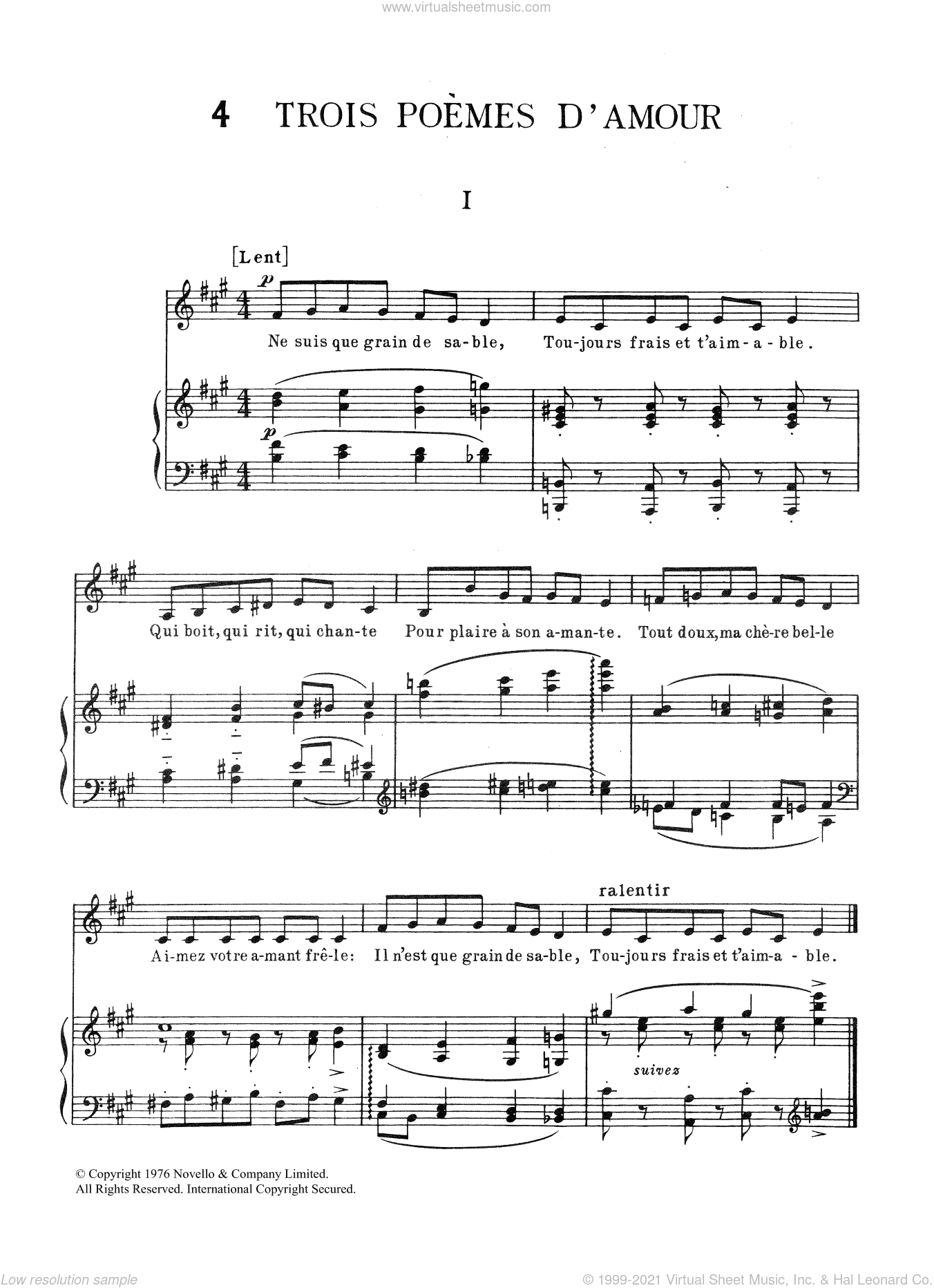 Trois Poemes d'Amour sheet music for piano solo by Erik Satie, classical score, intermediate skill level