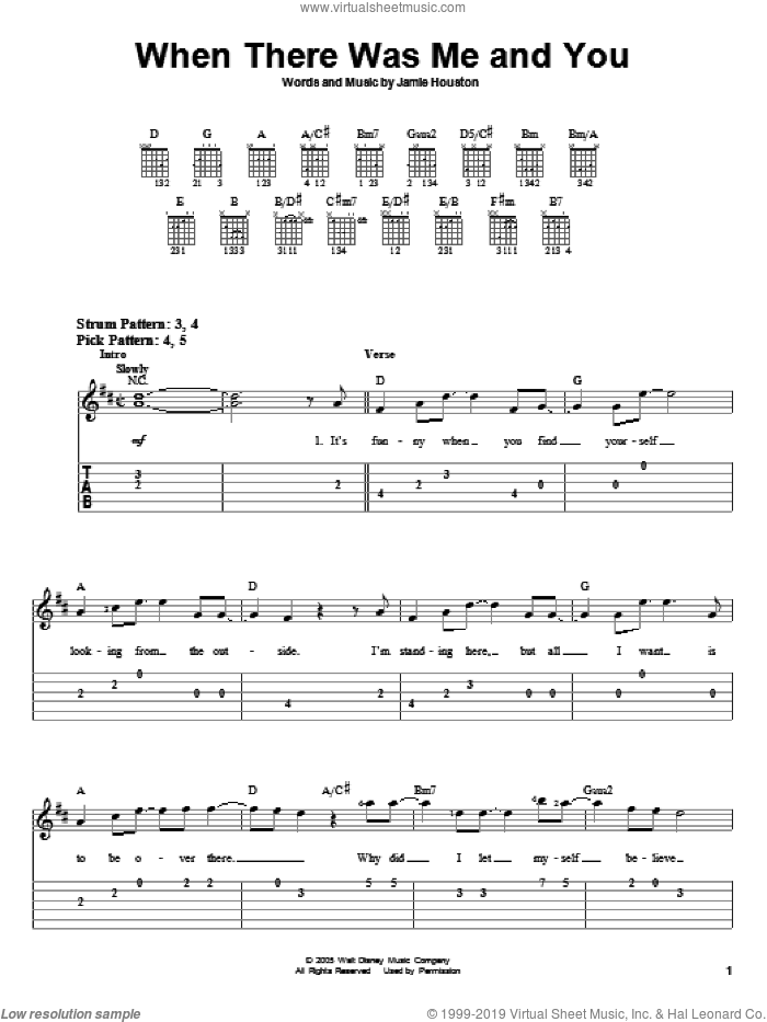 When There Was Me And You sheet music for guitar solo (easy tablature) by Jamie Houston and High School Musical. Score Image Preview.