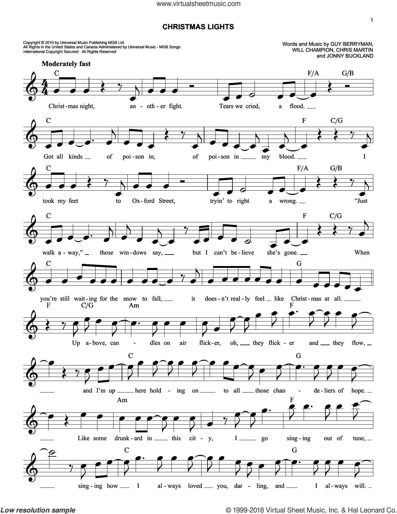 Christmas Lights sheet music for voice and other instruments (fake book) by Guy Berryman, Coldplay, Chris Martin, Jonny Buckland and Will Champion, intermediate skill level