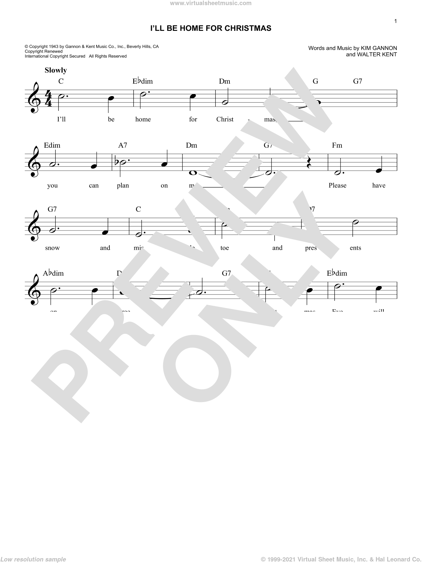 I'll Be Home For Christmas sheet music for voice and other instruments (fake book) by Kim Gannon and Walter Kent, intermediate skill level