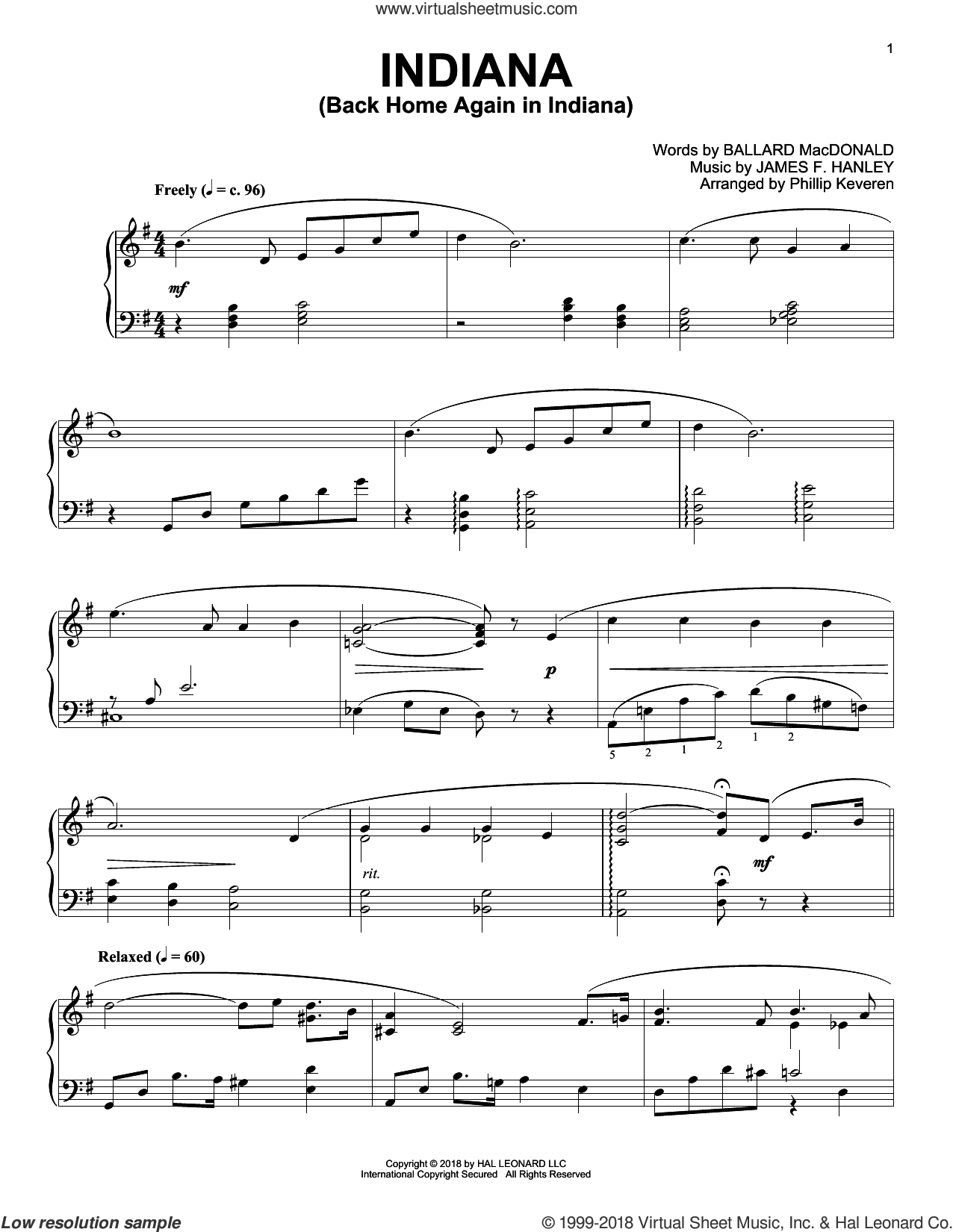 Indiana (Back Home Again In Indiana) [Jazz version] (arr. Phillip Keveren) sheet music for piano solo by Ballard MacDonald, Phillip Keveren and James Hanley, intermediate skill level