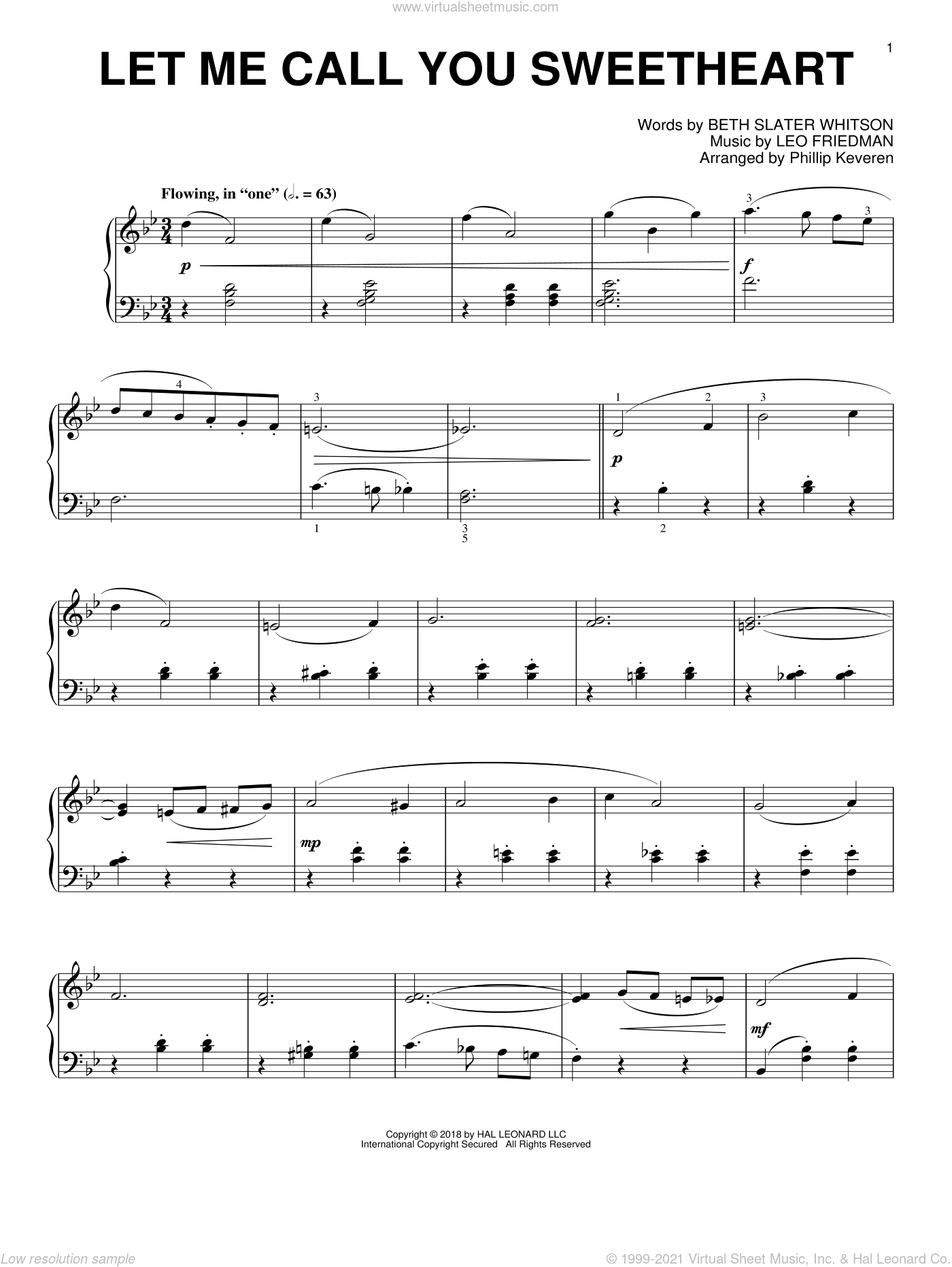 Let Me Call You Sweetheart [Jazz version] (arr. Phillip Keveren) sheet music for piano solo by Leo Friedman, Phillip Keveren and Beth Slater Whitson, intermediate skill level