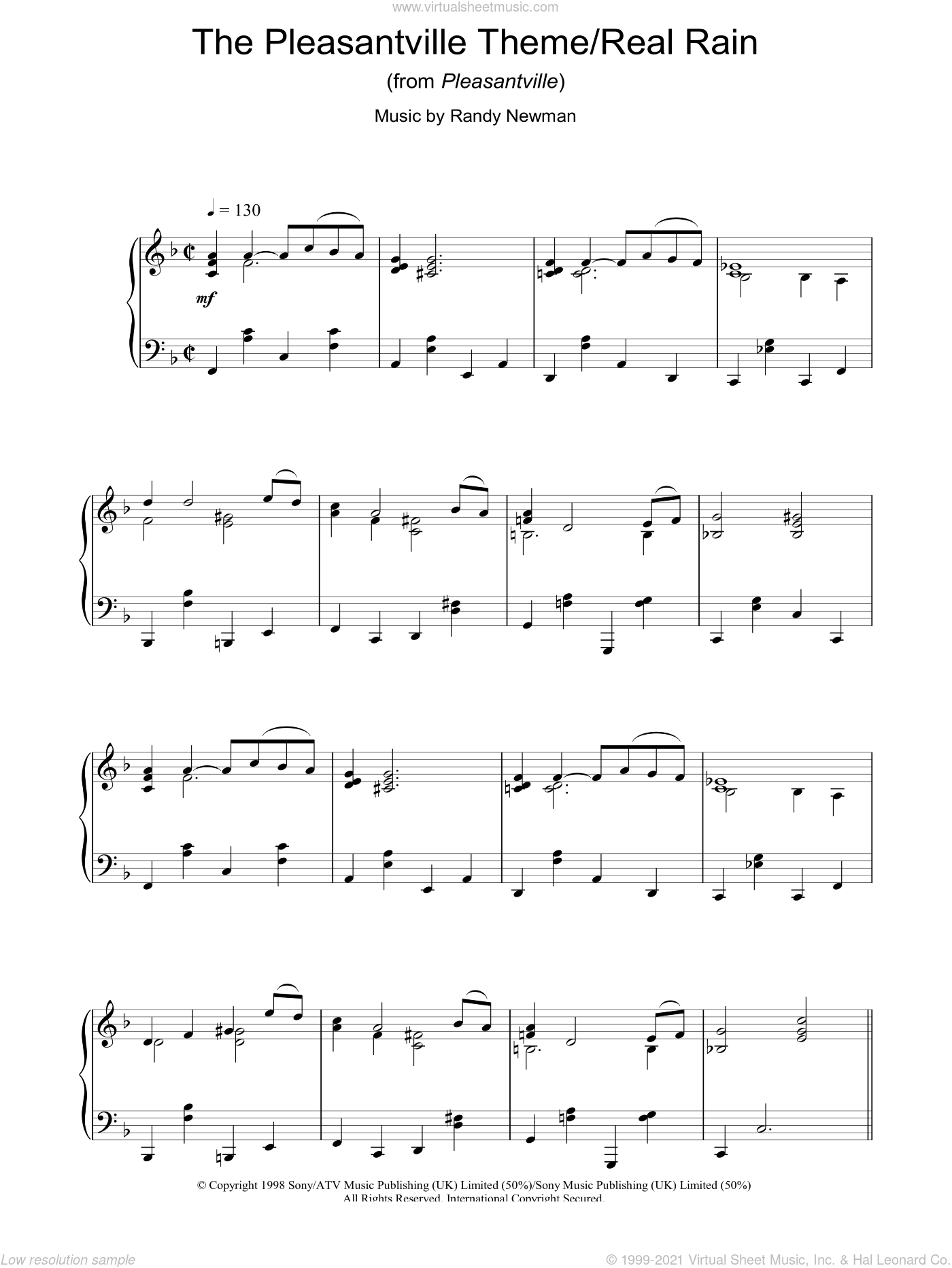 The Pleasantville Theme/Real Rain (from Pleasantville) sheet music for piano solo by Randy Newman. Score Image Preview.