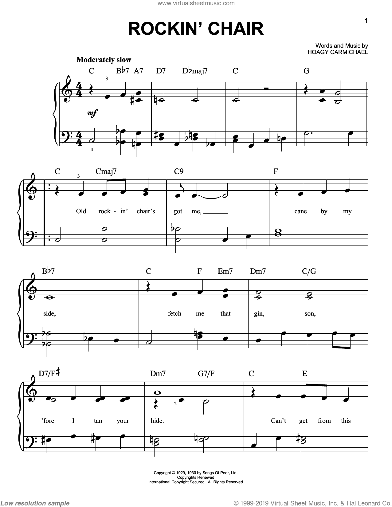 Rockin' Chair sheet music for piano solo by Hoagy Carmichael, easy skill level