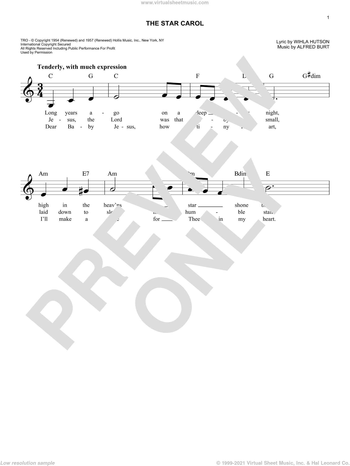 The Star Carol sheet music for voice and other instruments (fake book) by Alfred Burt and Wihla Hutson, intermediate skill level