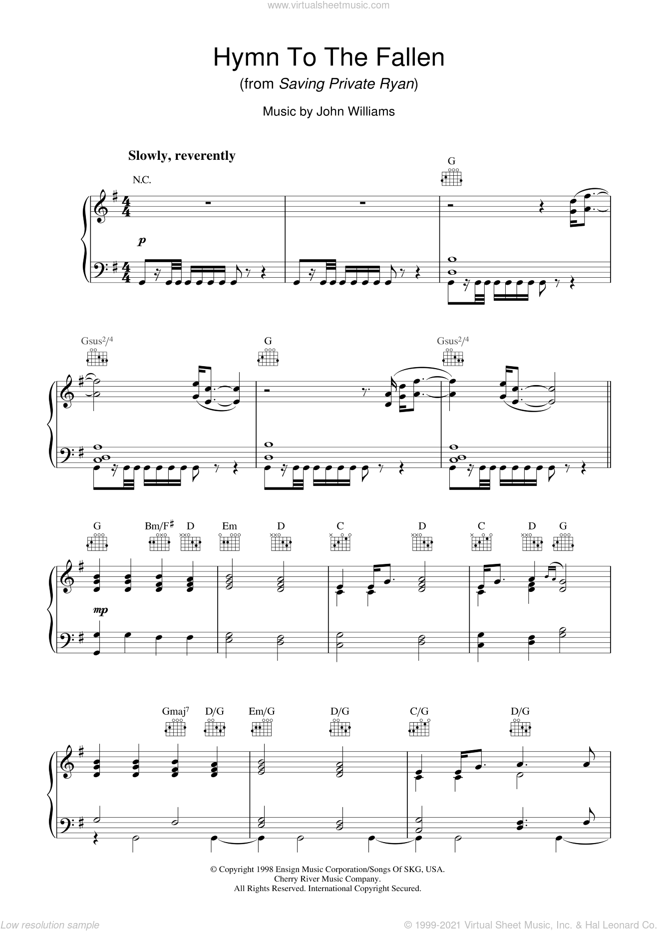 Hymn To The Fallen (from Saving Private Ryan) sheet music for piano solo by John Williams, intermediate skill level