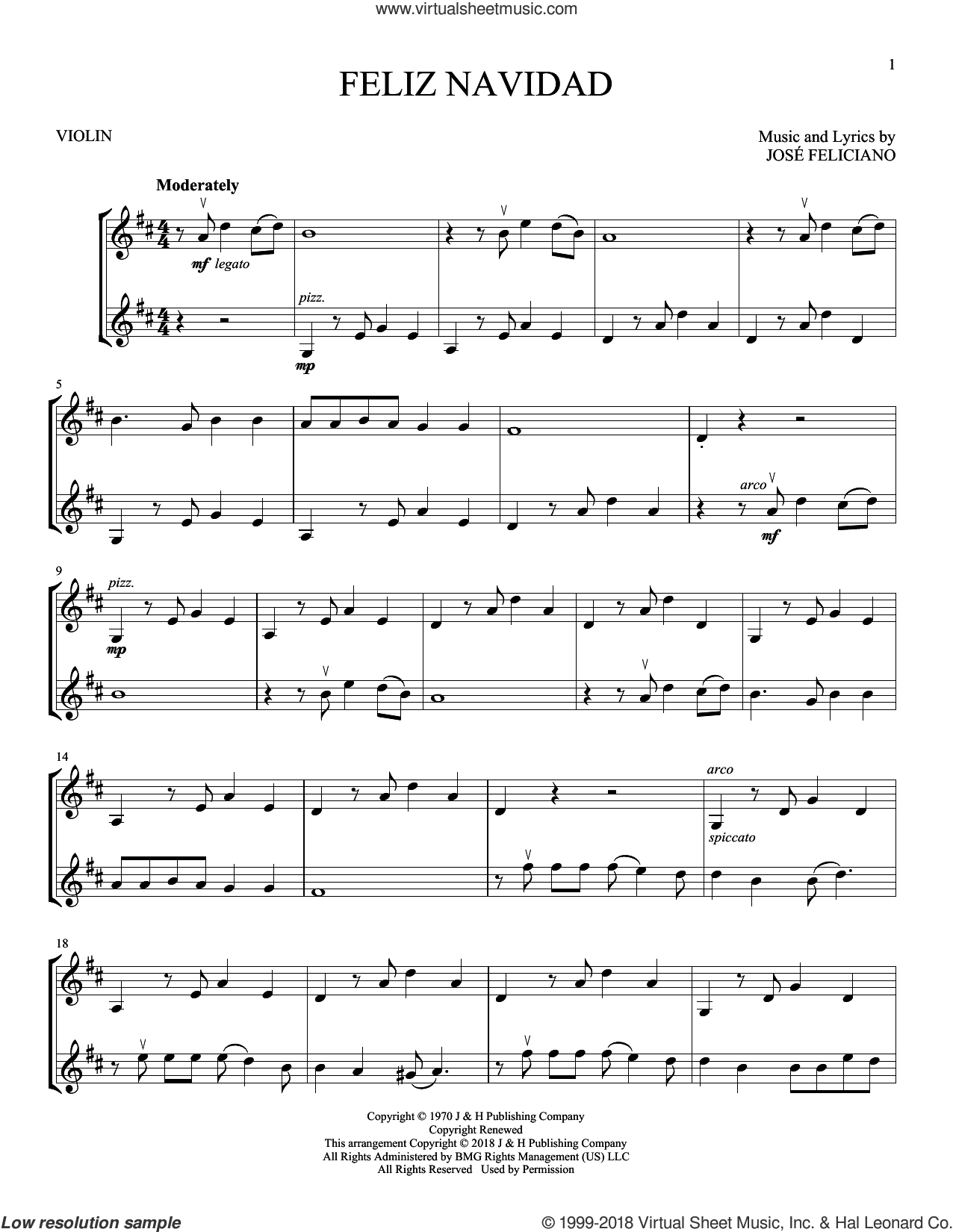 Feliz Navidad sheet music for two violins (duets, violin duets) by Jose Feliciano and Clay Walker, intermediate skill level