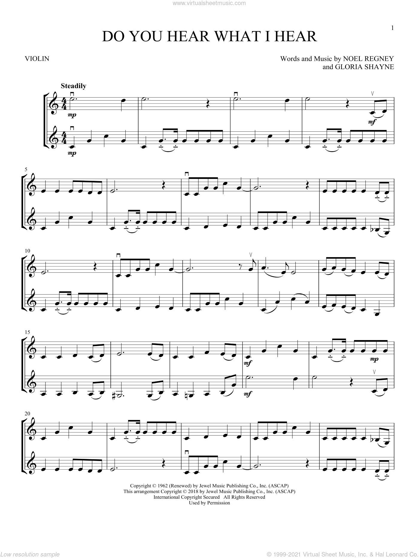 Do You Hear What I Hear sheet music for two violins (duets, violin duets) by Gloria Shayne and Noel Regney, intermediate skill level