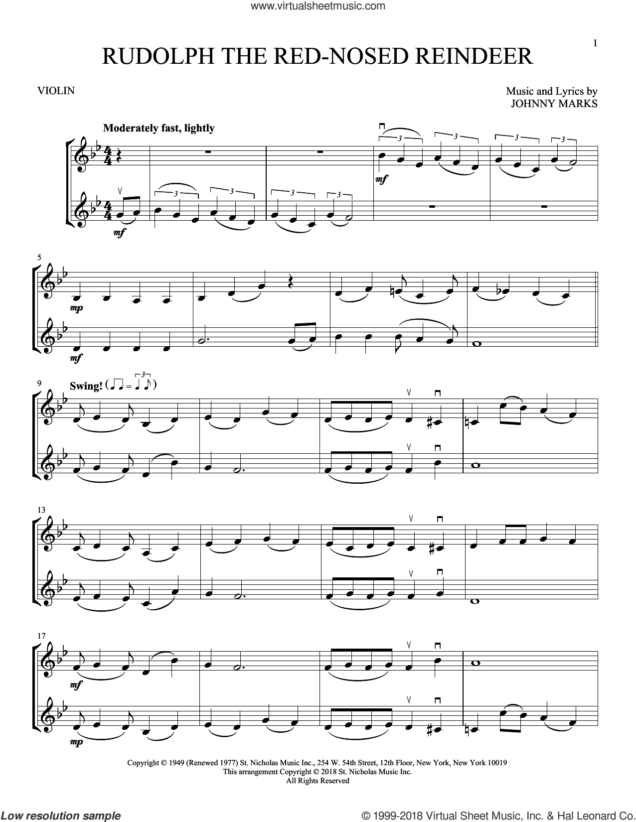 Rudolph The Red-Nosed Reindeer sheet music for two violins (duets, violin duets) by Johnny Marks, intermediate skill level