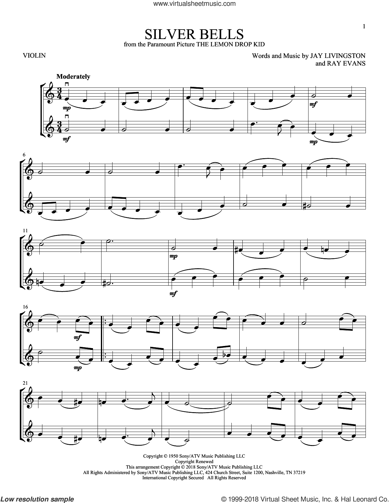 Silver Bells sheet music for two violins (duets, violin duets) by Jay Livingston and Ray Evans, intermediate skill level