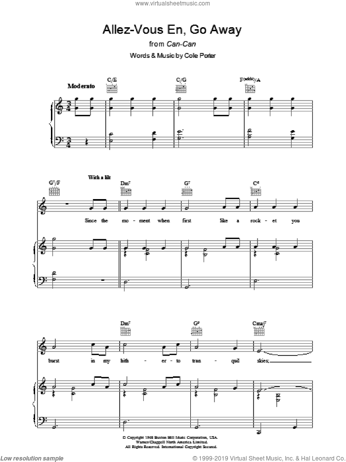 Allez-Vous En, Go Away sheet music for voice, piano or guitar by Cole Porter. Score Image Preview.