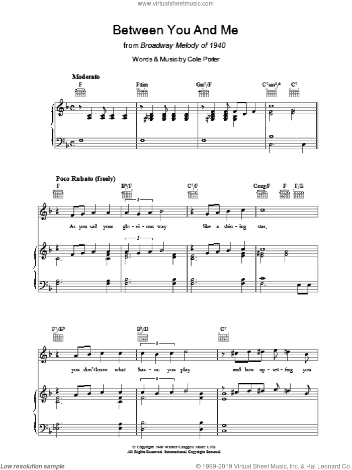 Between You And Me sheet music for voice, piano or guitar by Cole Porter. Score Image Preview.