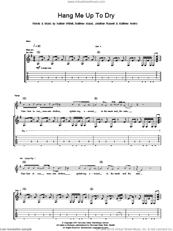 Hang Me Up To Dry sheet music for guitar (tablature) by Cold War Kids, Jonathan Russell, Matthew Aveiro, Matthew Maust and Nathan Willett, intermediate skill level