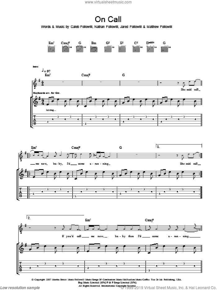 On Call sheet music for guitar (tablature) by Caleb Followill