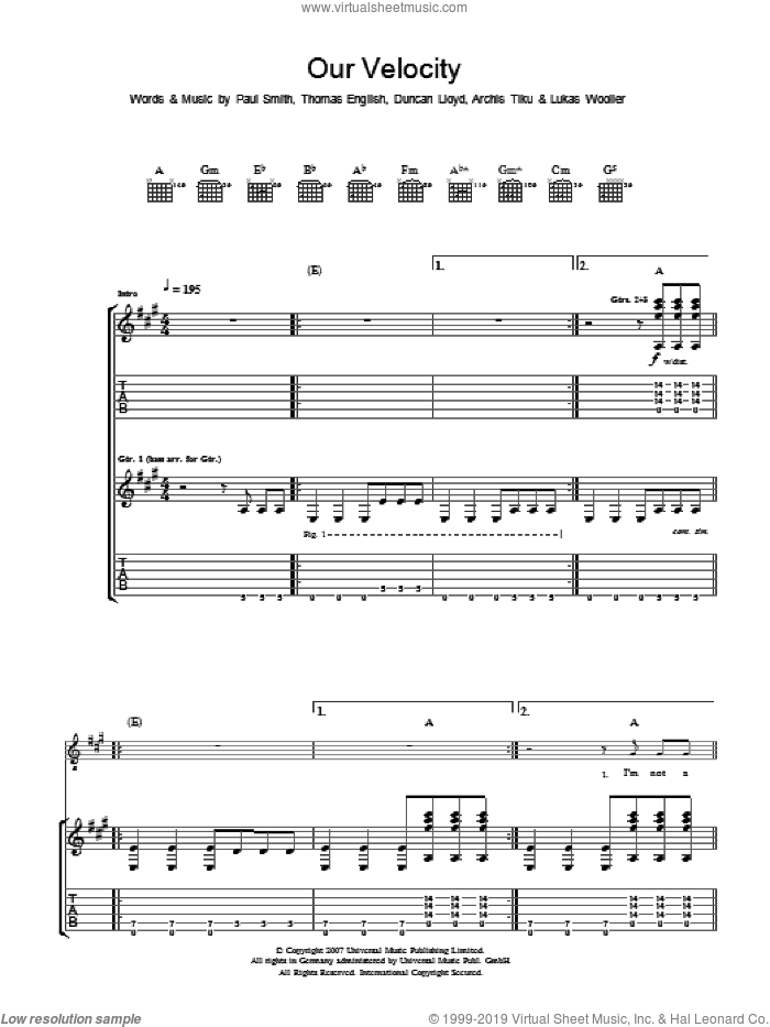 Our Velocity sheet music for guitar (tablature) by Archis Tiku, Paul Smith and Thomas English. Score Image Preview.