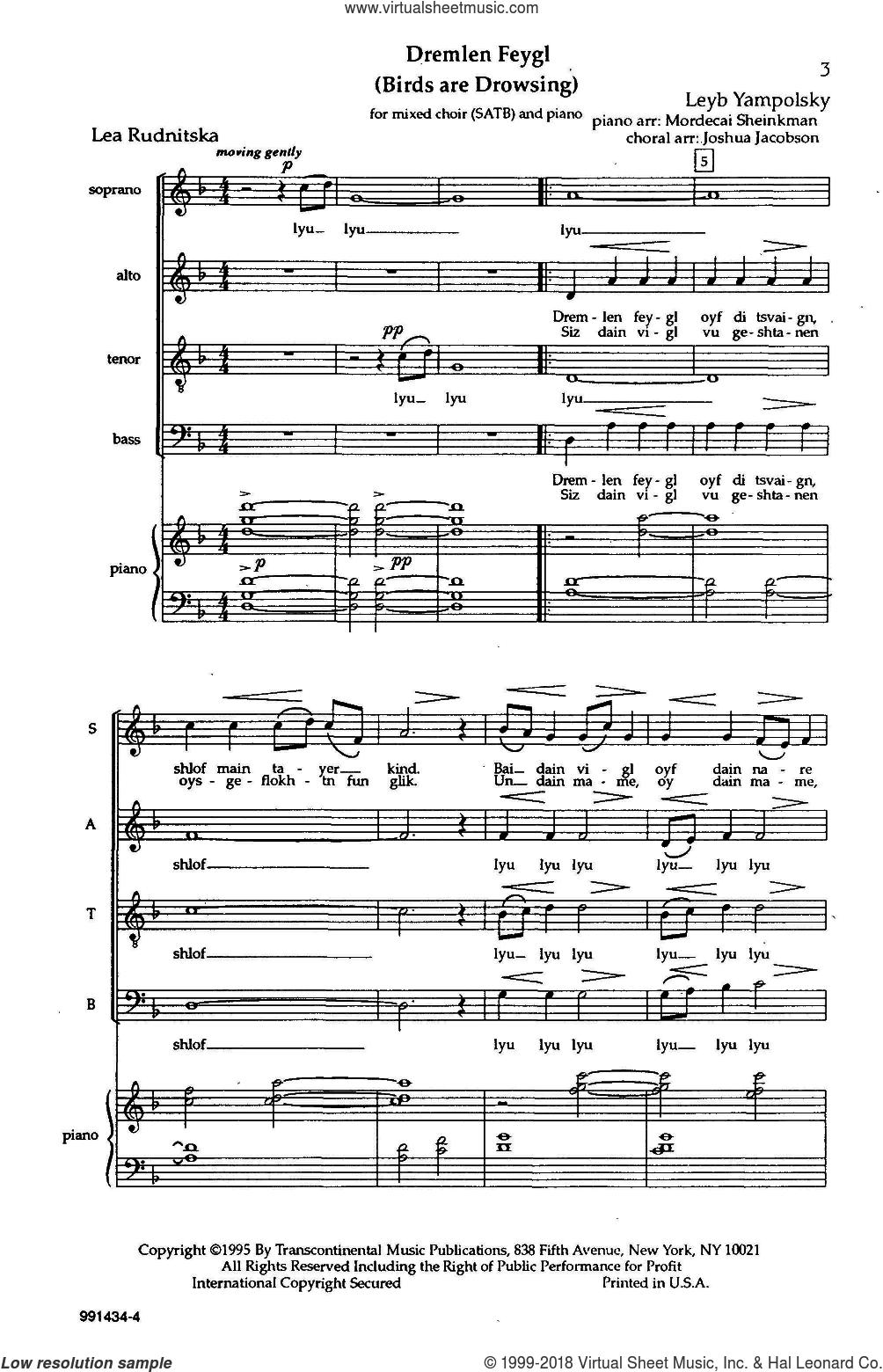 Dremlen Feygl (Birds Are Drowsing) sheet music for choir (SATB: soprano, alto, tenor, bass) by Joshua Jacobson and Leyb Yampolsky, intermediate skill level